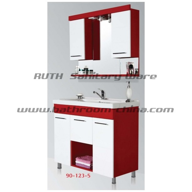 contemporary bathroom cabinet & vanity  in PVC and wood material with floor mounted style