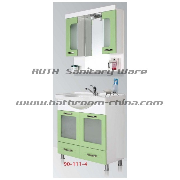 Contemporary bathroom cabinet PVC & wood material in floor mounted style