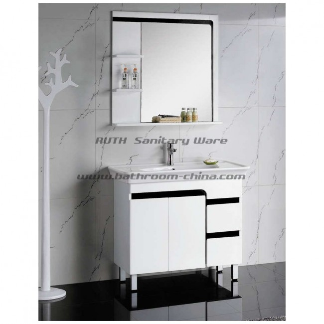 Contemporary bathroom cabinet PVC & wood material in free standing style RW004-90R
