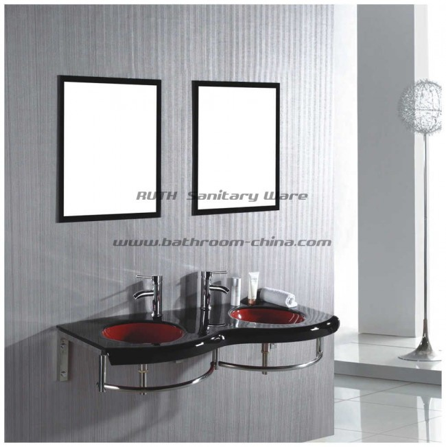 Double Glass Basin ,Glass vessel bowl , Glass cabinet