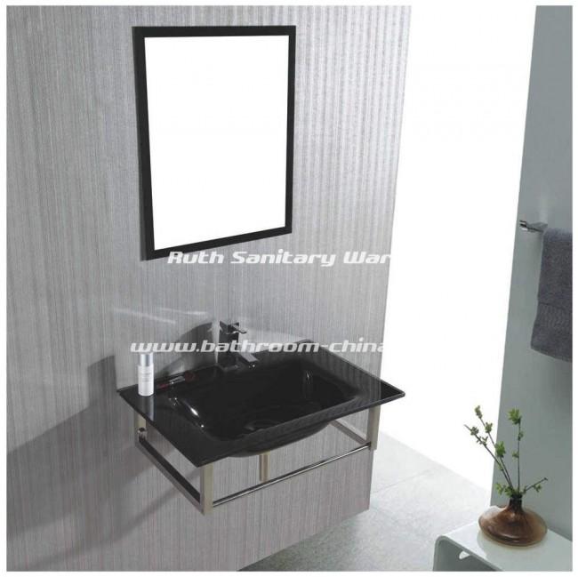 Glass bathroom vanity, Glass basin, Glass bathroom cabinet RG-L018