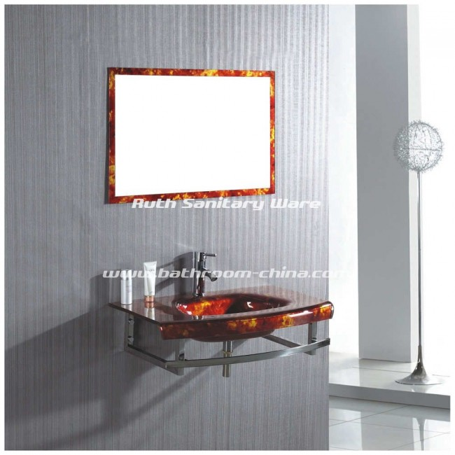Glass bathroom vanity, Glass basin, Glass bathroom cabinet RG-L019