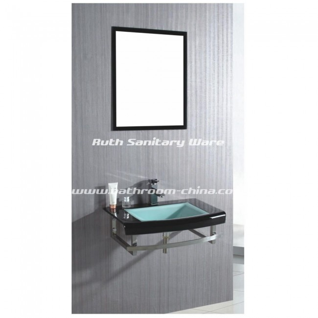Glass bathroom cabinet with stainless steel support RG-L029