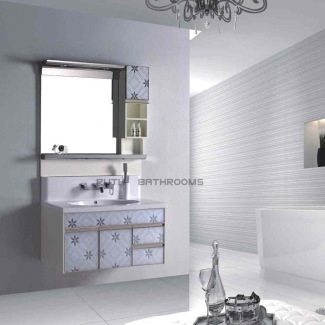 Wood or PVC bath vanity with Glass in door RP-H3037