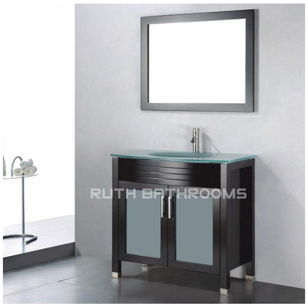 Tempered Glass Top and Counter sink bowel wood bathroom vanity RU102-24E