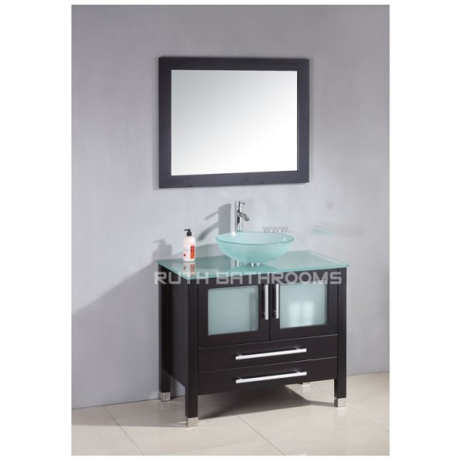 WOODEN BATHROOM VANITY IN GLASS TOP