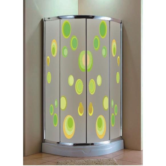 shower door with decorative design