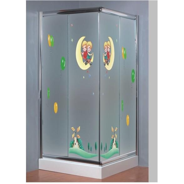 shower enclosure with decorative design