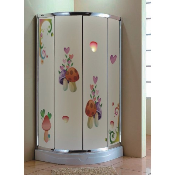 Decorative Floral Glass Shower Door Shower Doors In Decorative Design Flower Design Shower