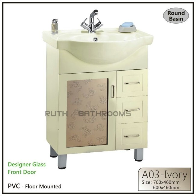 pvc bathroom cabinet with glass