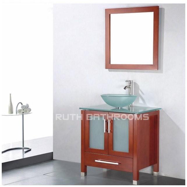Glass wood vanity ,Glass vanities