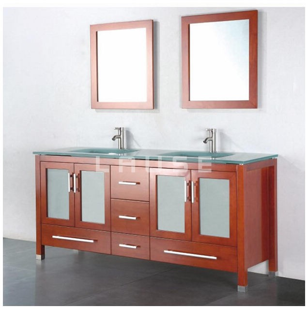 Double vesswl Basin wood bathroom vanity