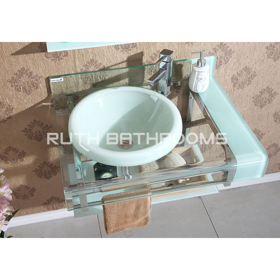 White color Glass basin Tempered Glass sink bowl Glass vessel sink ...