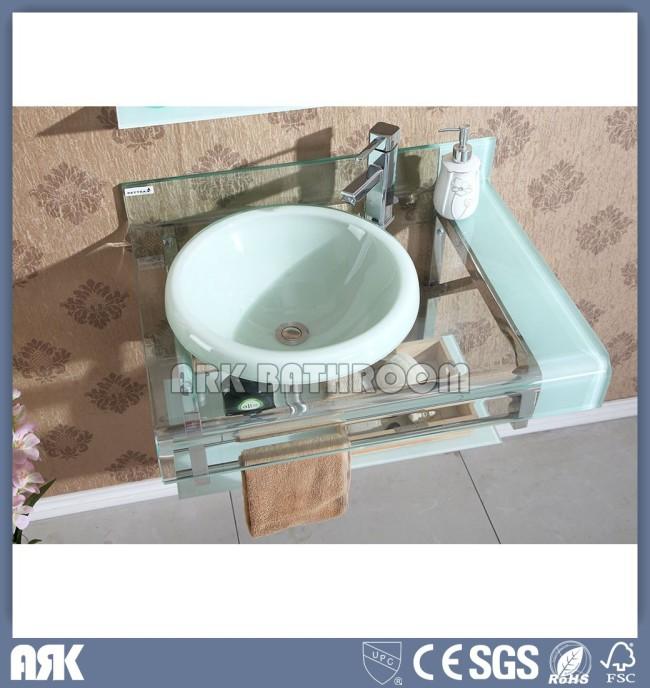 China Glass basin cabinet  manufacturer Tempered Glass basin factory  Glass vessel bowl Glass wash sink  GB5204-3